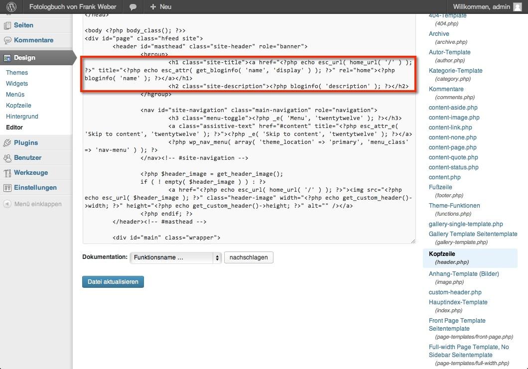 WordPress header.php vor Änderung