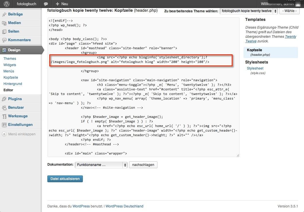 WordPress header.php nach Nachtrag Änderung