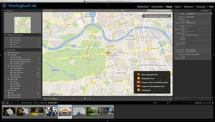 Lightroom Video Tutorial - Fotos und GPS Koordinaten, (Foto copyright - Frank Weber - Berlin - fotologbuch.de)