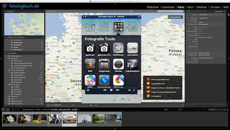 Lightroom Video Tutorial - Fotos, GPS mit der iPhone App gps4cam, (Foto copyright - Frank Weber - Berlin - fotologbuch.de)