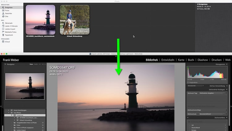 Lightroom Video- Verbesserungsvorschläge Import iPhoto in Lightroom 5.7, (Foto copyright - Frank Weber - Berlin - fotologbuch.de)