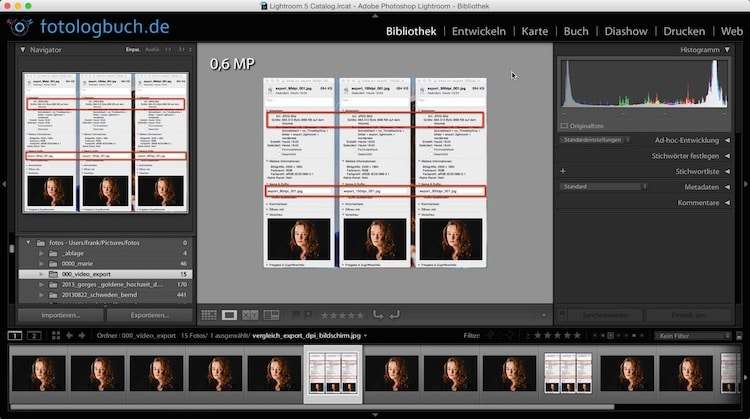 Lightroom Video Tutorial - Export auf Festplatte, (Foto copyright - Frank Weber - Berlin - fotologbuch.de)