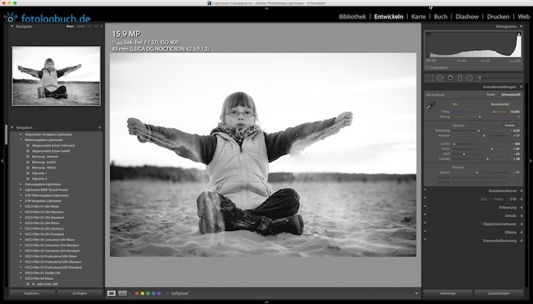 Lightroom Quicktipp – Farbtemperatur und Schwarz/Weiss Fotos?