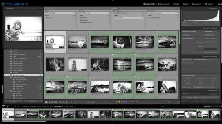 Lightroom Quicktipp – Filter nur Schwarz/Weiß Fotos zeigen