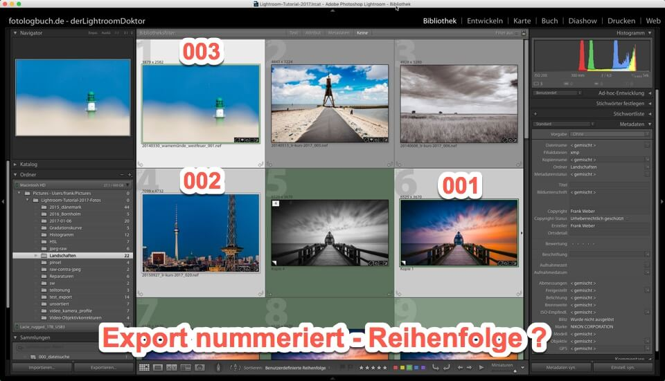 Lightroom - Quicktipp - Export von Fotos - Indexierung, Reihenfolge anpassen, (Foto copyright - Frank Weber - Berlin - fotologbuch.de)
