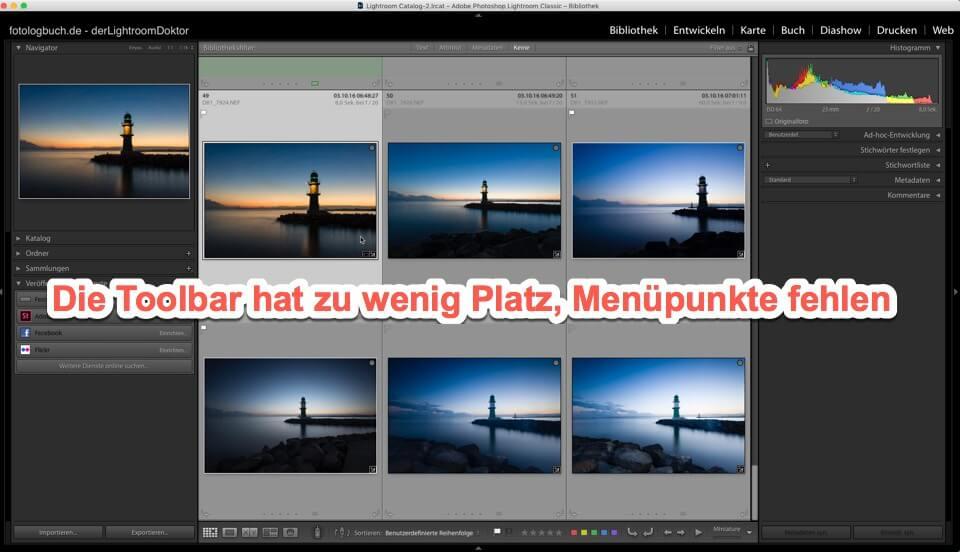Lightroom Expertentipp - Die Toolbar hat zu wenig Platz, Menüpunkte fehlen, (Foto copyright - Frank Weber - Berlin - fotologbuch.de)