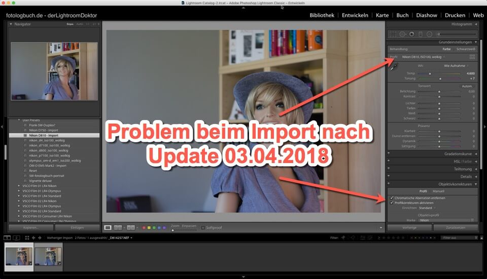 Lightroom Quicktipp – Update 03.04.2018 – Problem beim Import (Kameraprofile, Objektivkorrekturen)