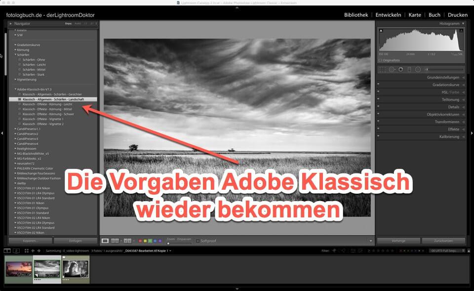 Lightroom - Expertentipp Modul Entwickeln - Die Vorgaben Adobe Klassisch wieder bekommen, (Foto copyright - Frank Weber - Berlin - fotologbuch.de)