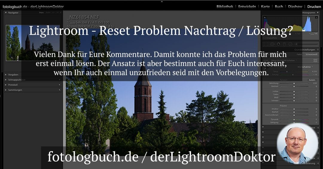 Lightroom – Reset Problem Nachtrag / Lösung