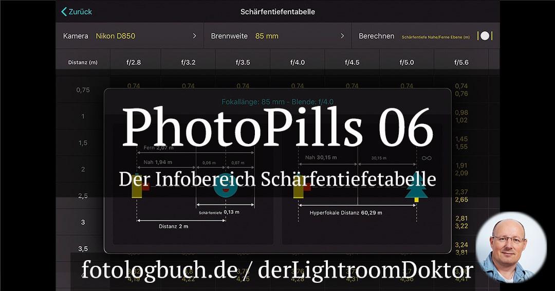 Die App PhotoPills – 06 Der Bereich Schärfentiefetabelle