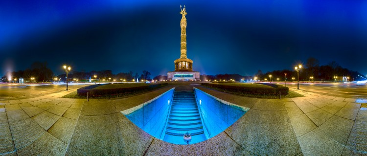Berlin Großer Stern - Panorama nachts, (Foto copyright - Frank Weber - Berlin - fotologbuch.de)